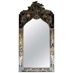 Exquisite Venetian Arabesque Style Mirror with Reverse Etching