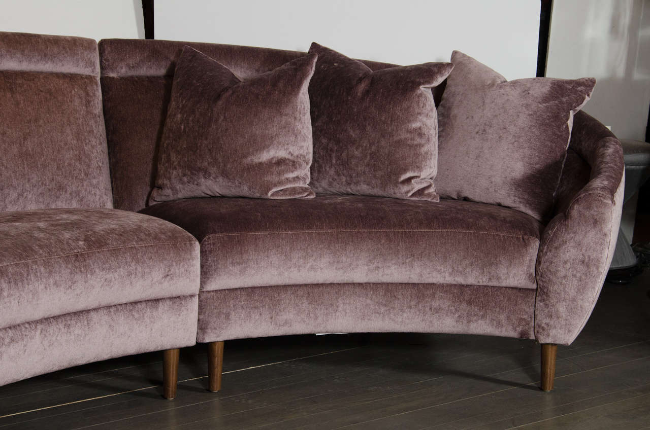 Luxe Mid Century Modernist Curved Three Piece Sectional