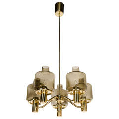 Midcentury Chandelier in Brass and Smoked Glass Globes by Hans-Agne Jakobsson