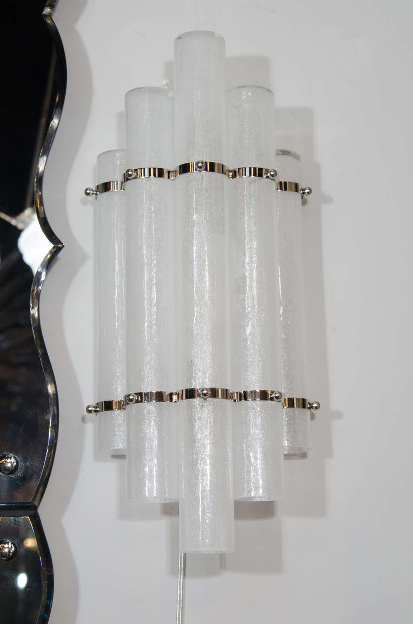 Italian Pair of Mid-Century Modern Pulegoso Glass Tubular Sconces with Nickel Fittings For Sale