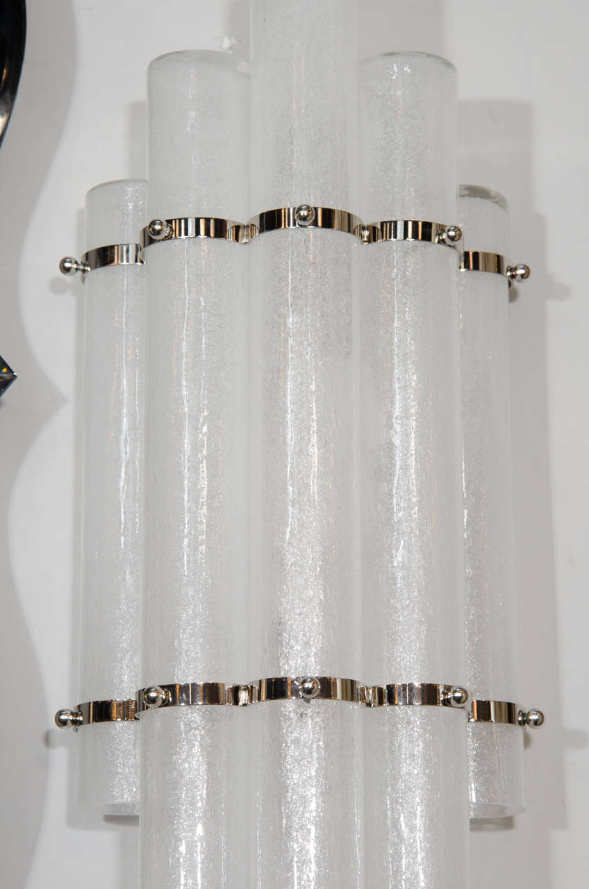 Contemporary Pair of Mid-Century Modern Pulegoso Glass Tubular Sconces with Nickel Fittings For Sale