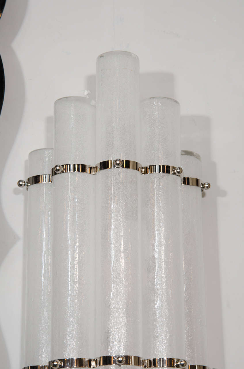 Pair of Mid-Century Modern Pulegoso Glass Tubular Sconces with Nickel Fittings For Sale 1