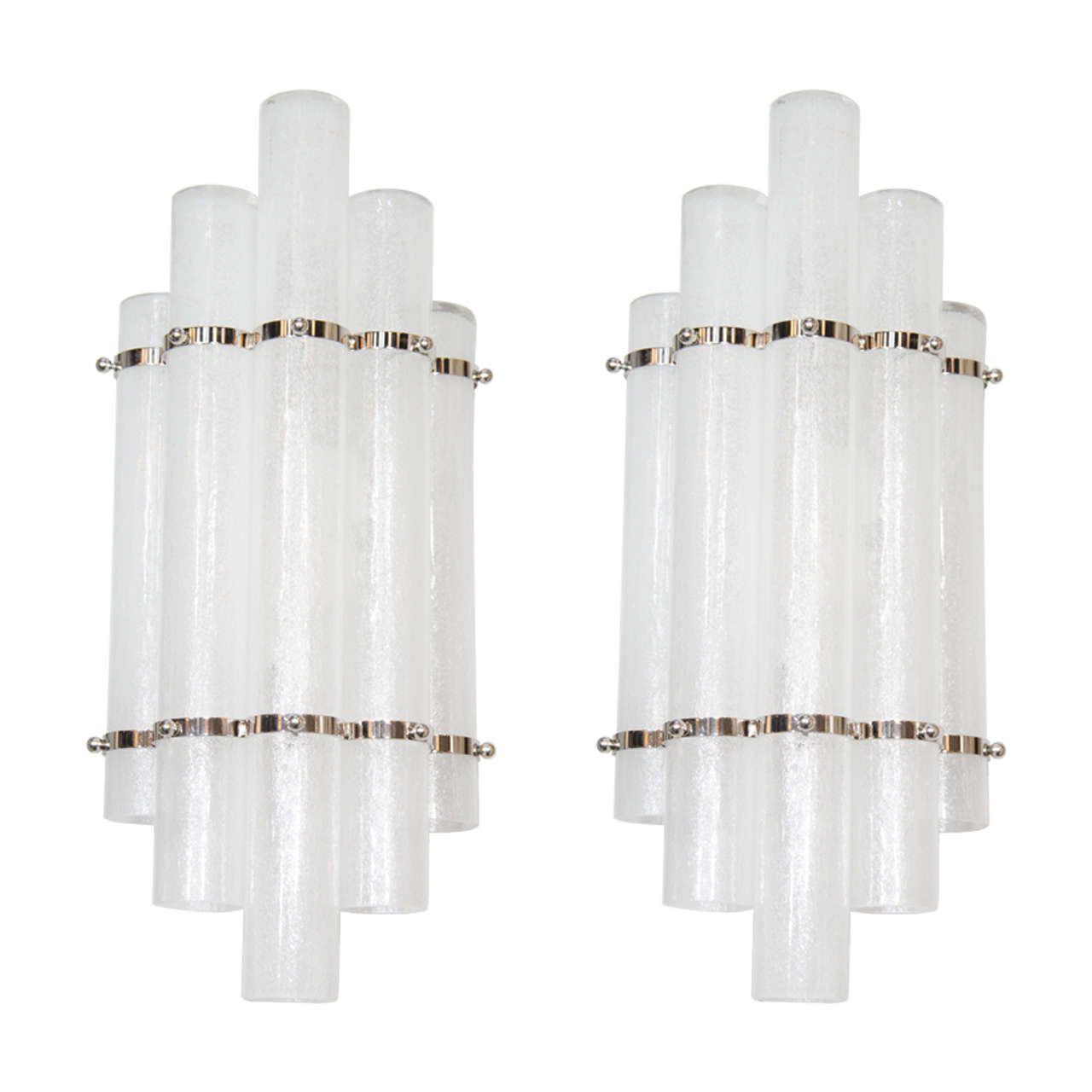 Pair of Mid-Century Modern Pulegoso Glass Tubular Sconces with Nickel Fittings