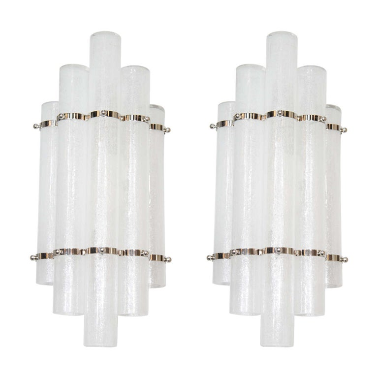 """Pair of Modernist Handblown Murano Glass & Polished Nickel """"Pulegoso"""" Sconces For Sale"""