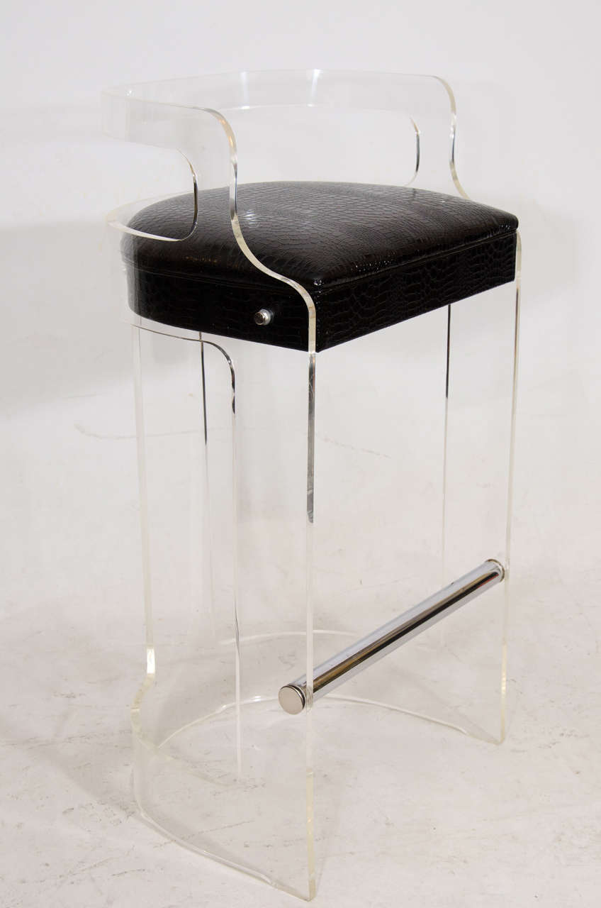 Set Of Three Lucite Bar Stools In The Manner Of Charles