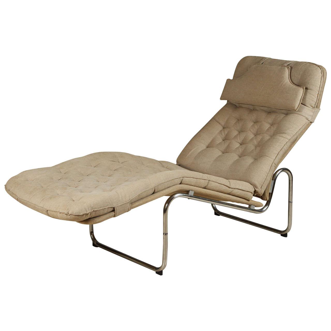 Bernard Chaise Lounge Of Tufted Scandinavian Chaise Lounge In Original Belgian