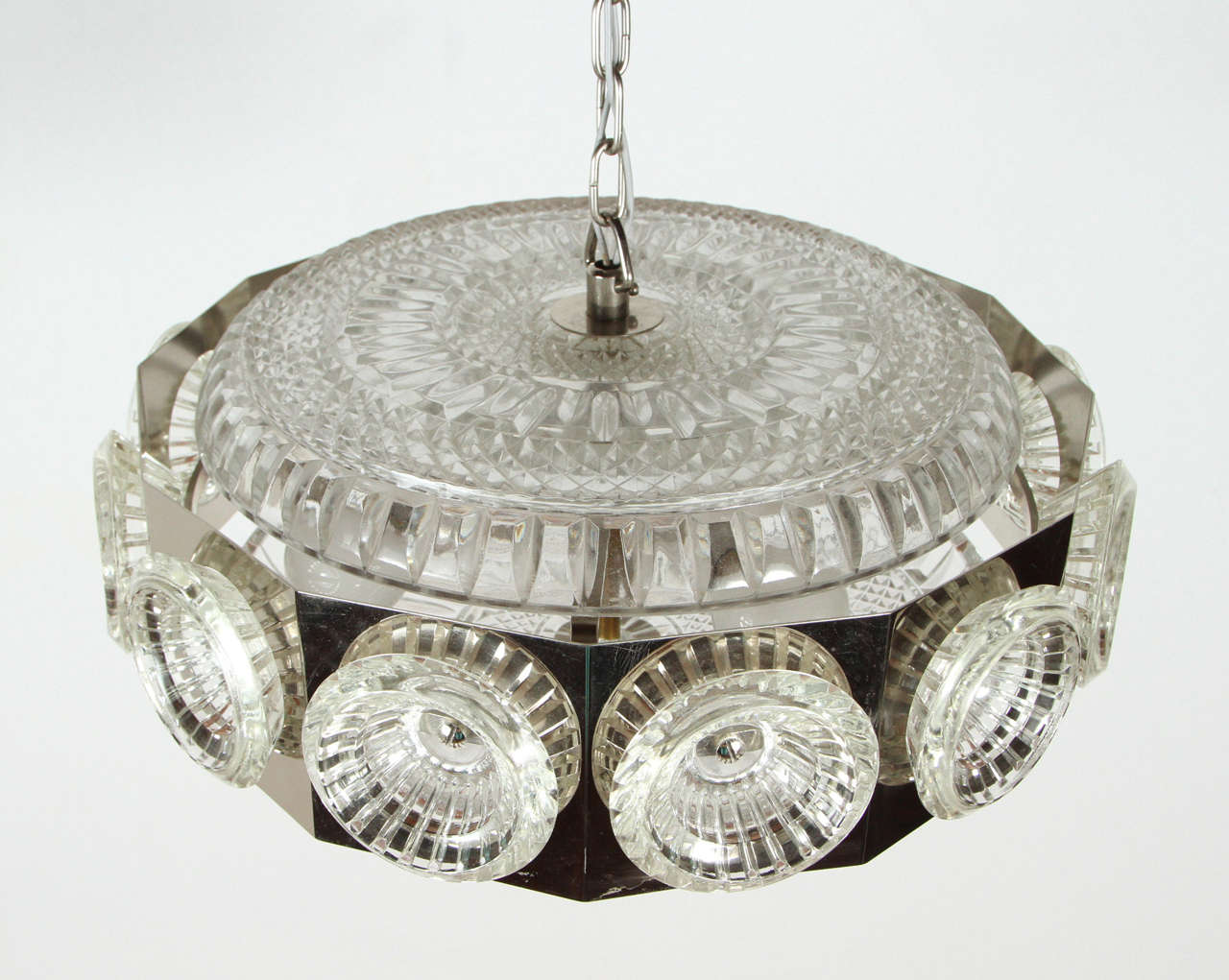 Late 20th Century Chrome Orrefors Hanging Light Fixture For Sale