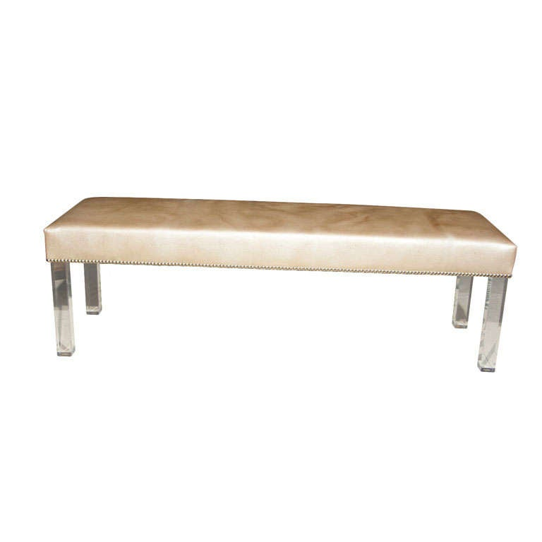 faux shagreen upholstered bench with lucite legs at 1stdibs. Black Bedroom Furniture Sets. Home Design Ideas