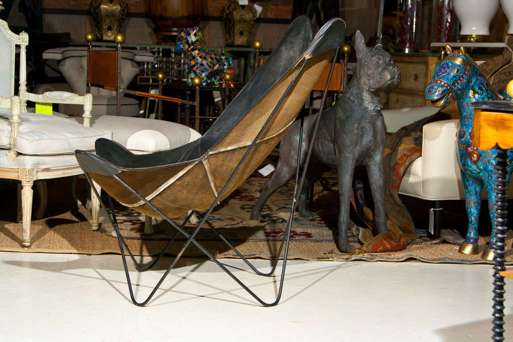 Leather Butterfly Chair By Ferrari Hardoy At 1stdibs