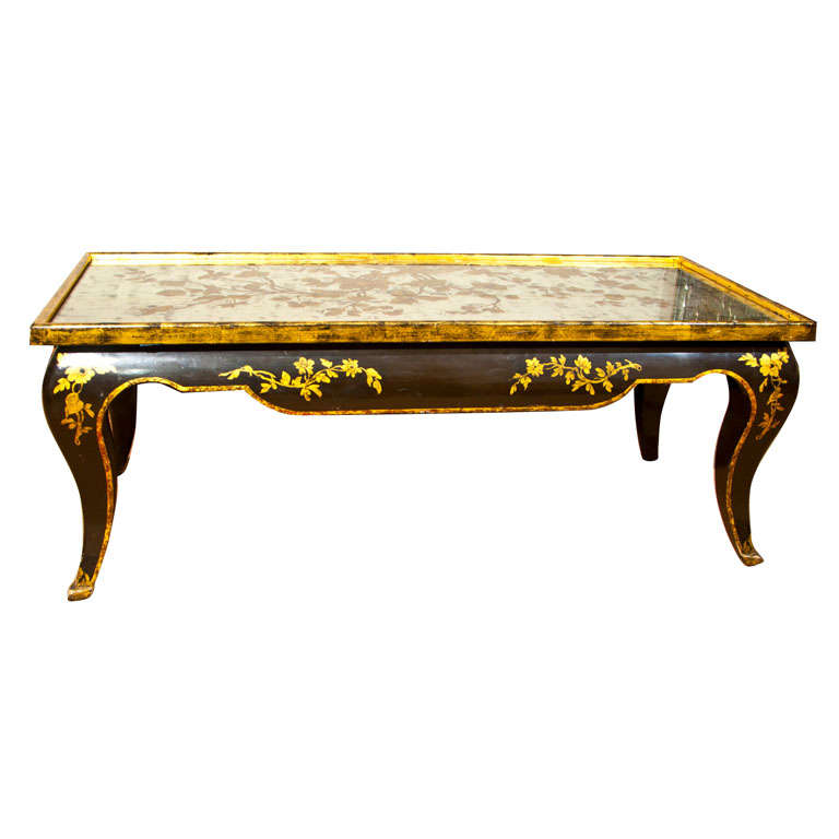 Chinoiserie Reverse Painting On Glass Coffee Table At 1stdibs