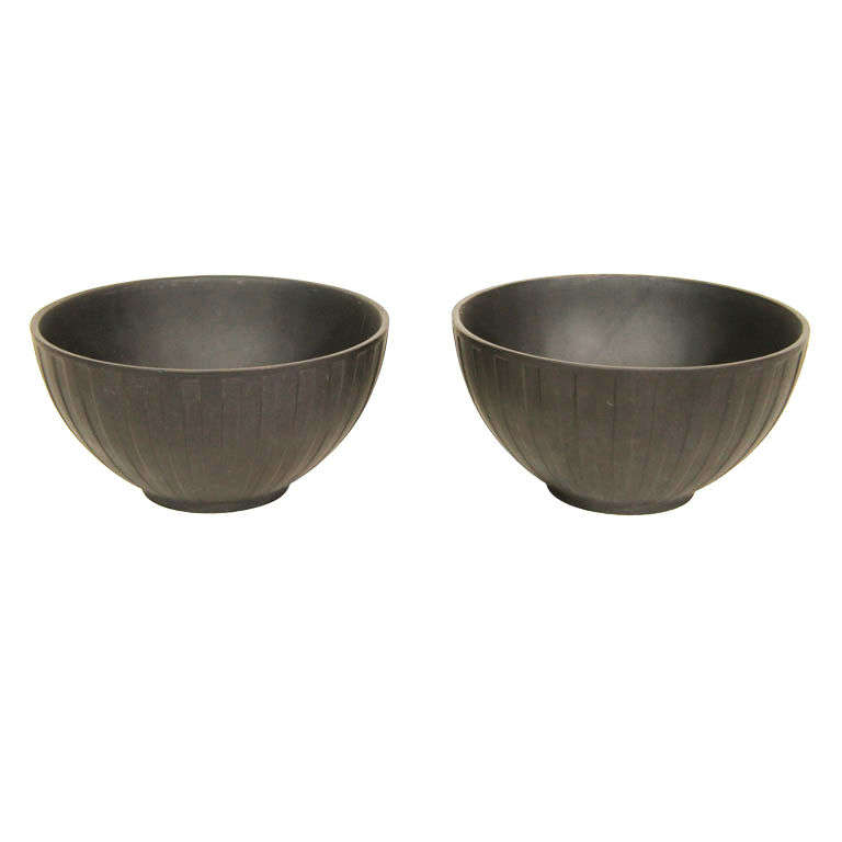 A Pair Of Wedgwood Black Basalt Engine Turned Bowls At 1stdibs