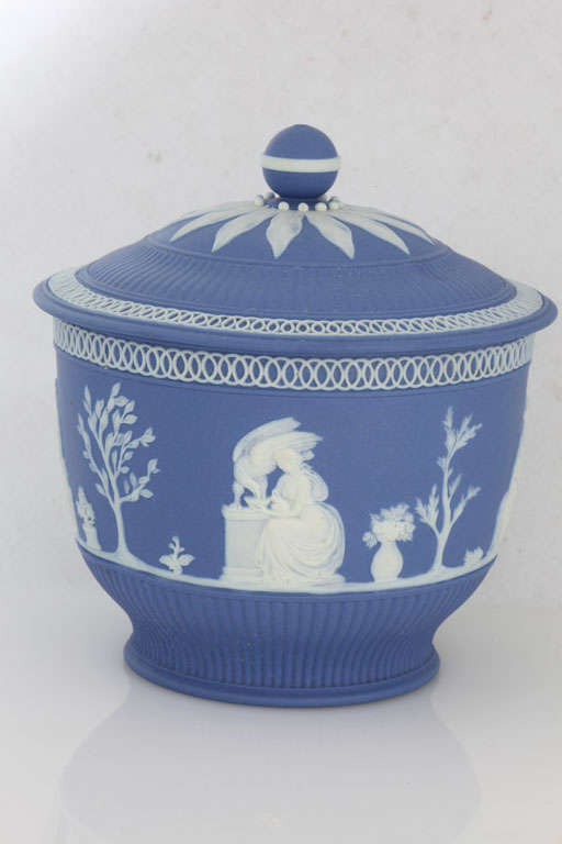 English Blue And White Jasper Covered Sugar Bowl At 1stdibs