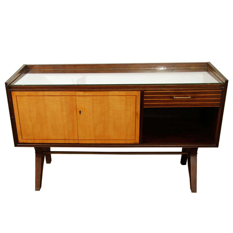 Great Mid Century German Mirrored Liquor Cabinet / Console For Sale