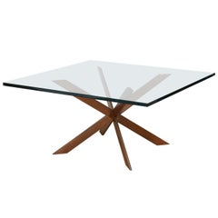 Leon Rosen attributed Double Cross Copper Coffee Table, Pace