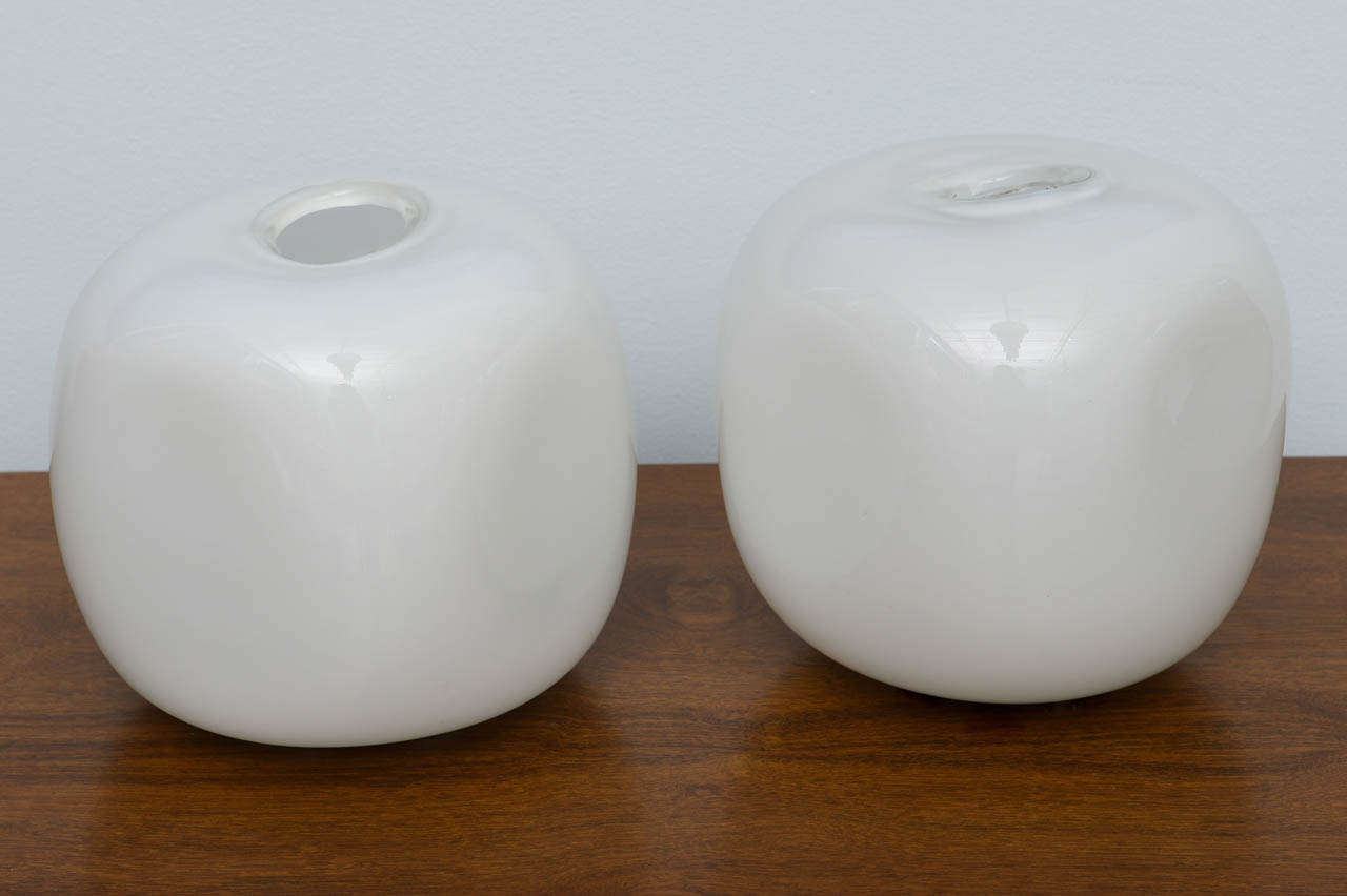 Pair of handblown glass lamps.