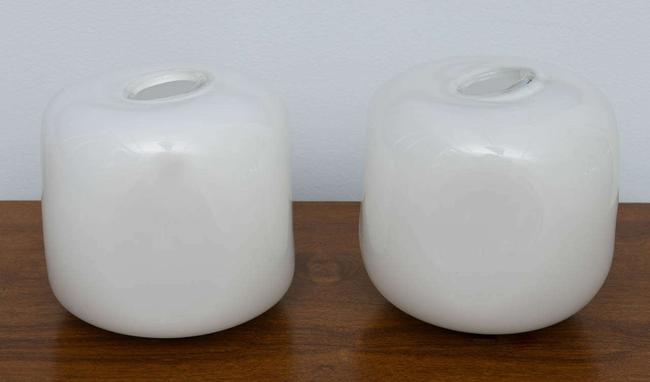 Mid-Century Modern Pair of Italian Modern Glass Lamps, Marked Barbini For Sale