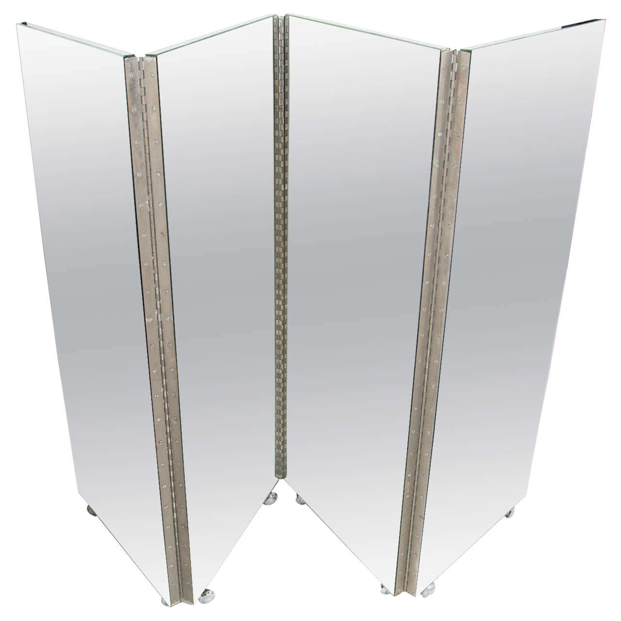 Vintage Mid-Century Modern Four-Panel Mirrored Screen and Room Divider 1