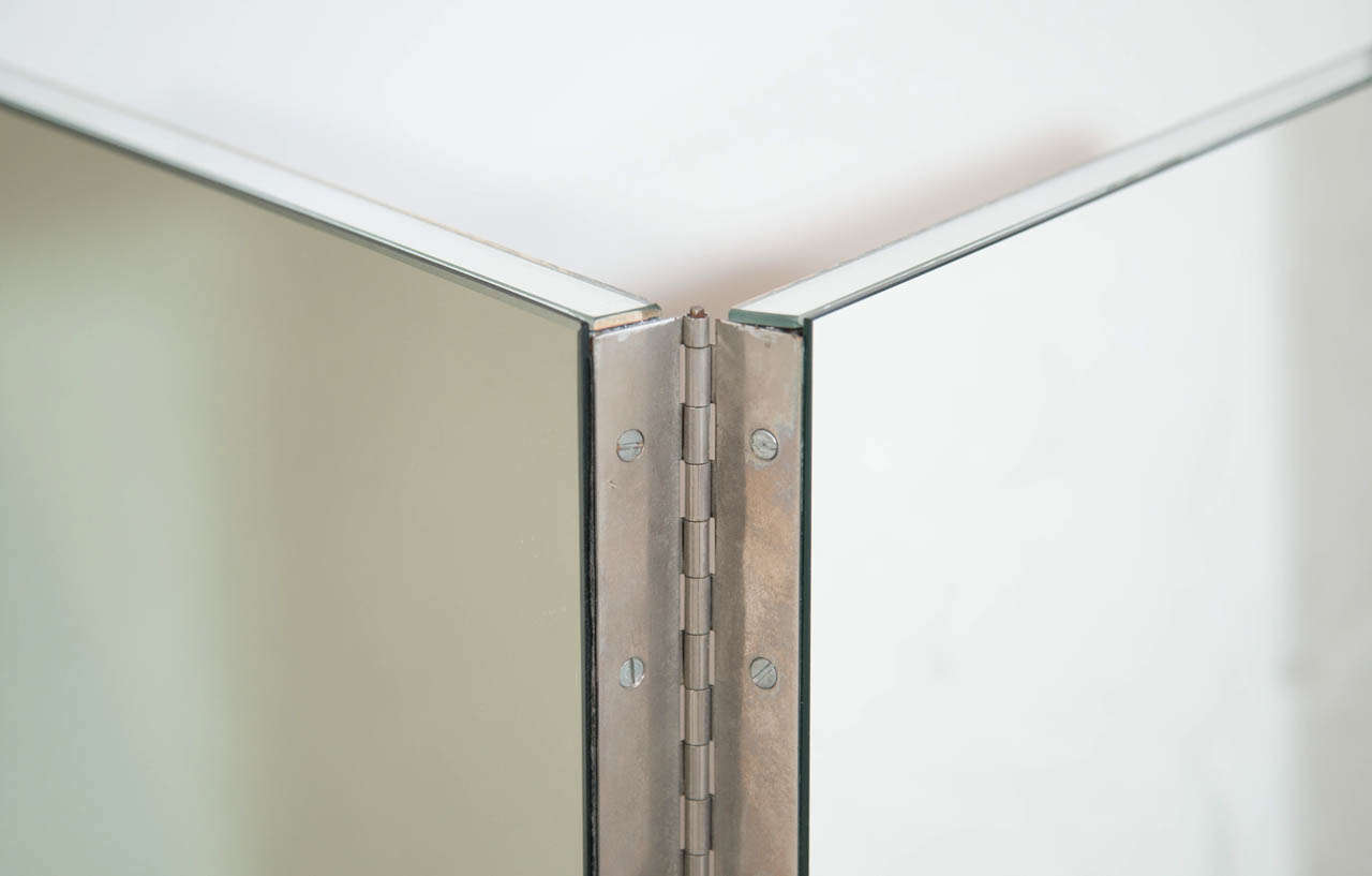 Vintage Mid-Century Modern Four-Panel Mirrored Screen and Room Divider 3