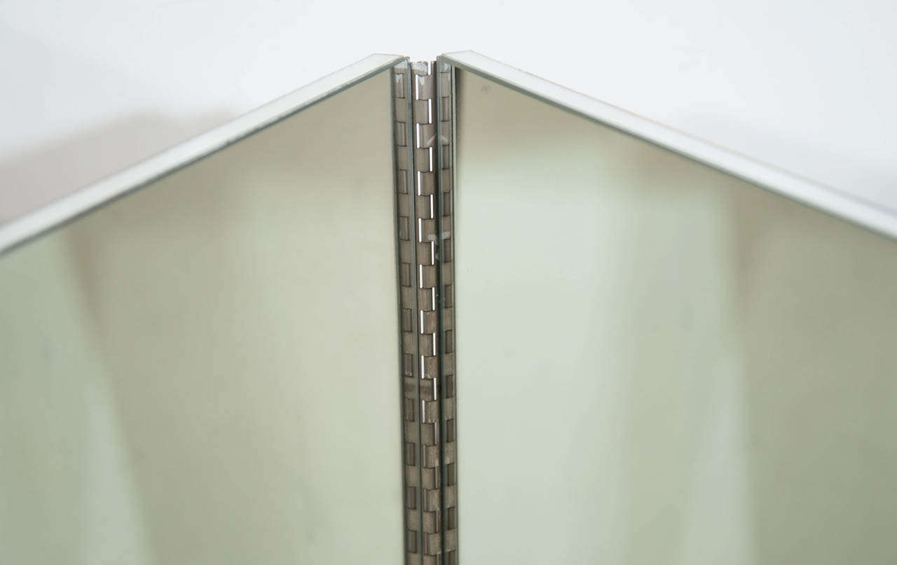 Vintage Mid-Century Modern Four-Panel Mirrored Screen and Room Divider 4