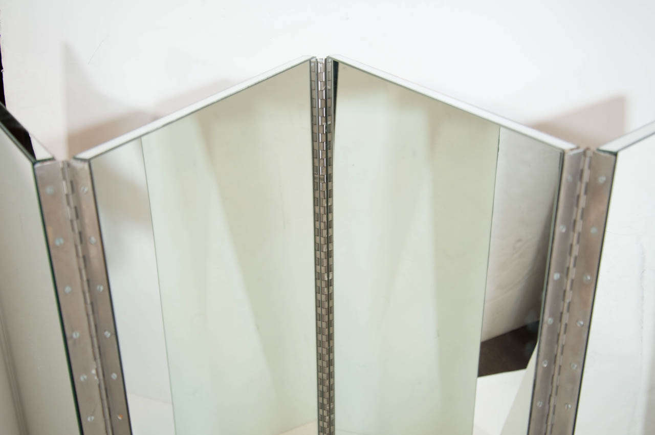 Vintage Mid-Century Modern Four-Panel Mirrored Screen and Room Divider 5