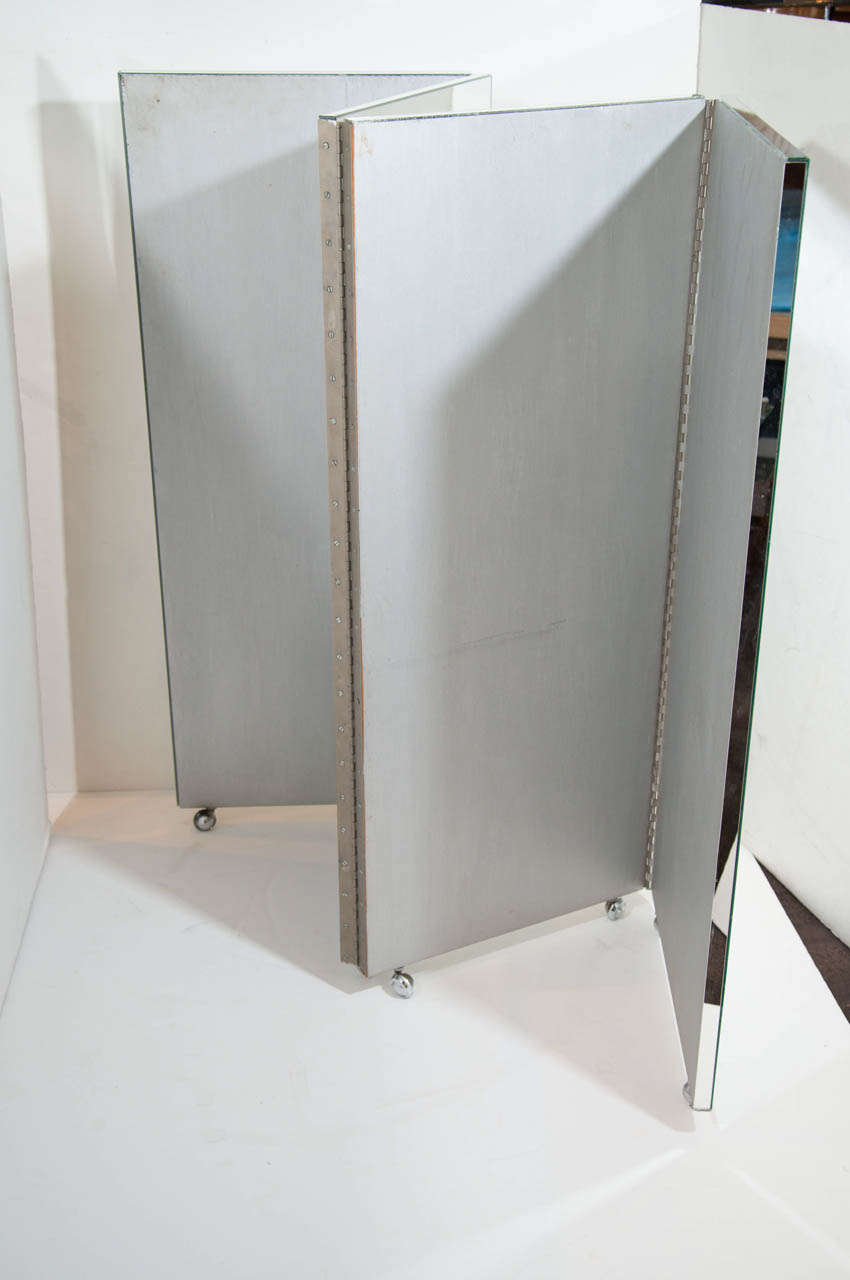 Vintage Mid-Century Modern Four-Panel Mirrored Screen and Room Divider 8