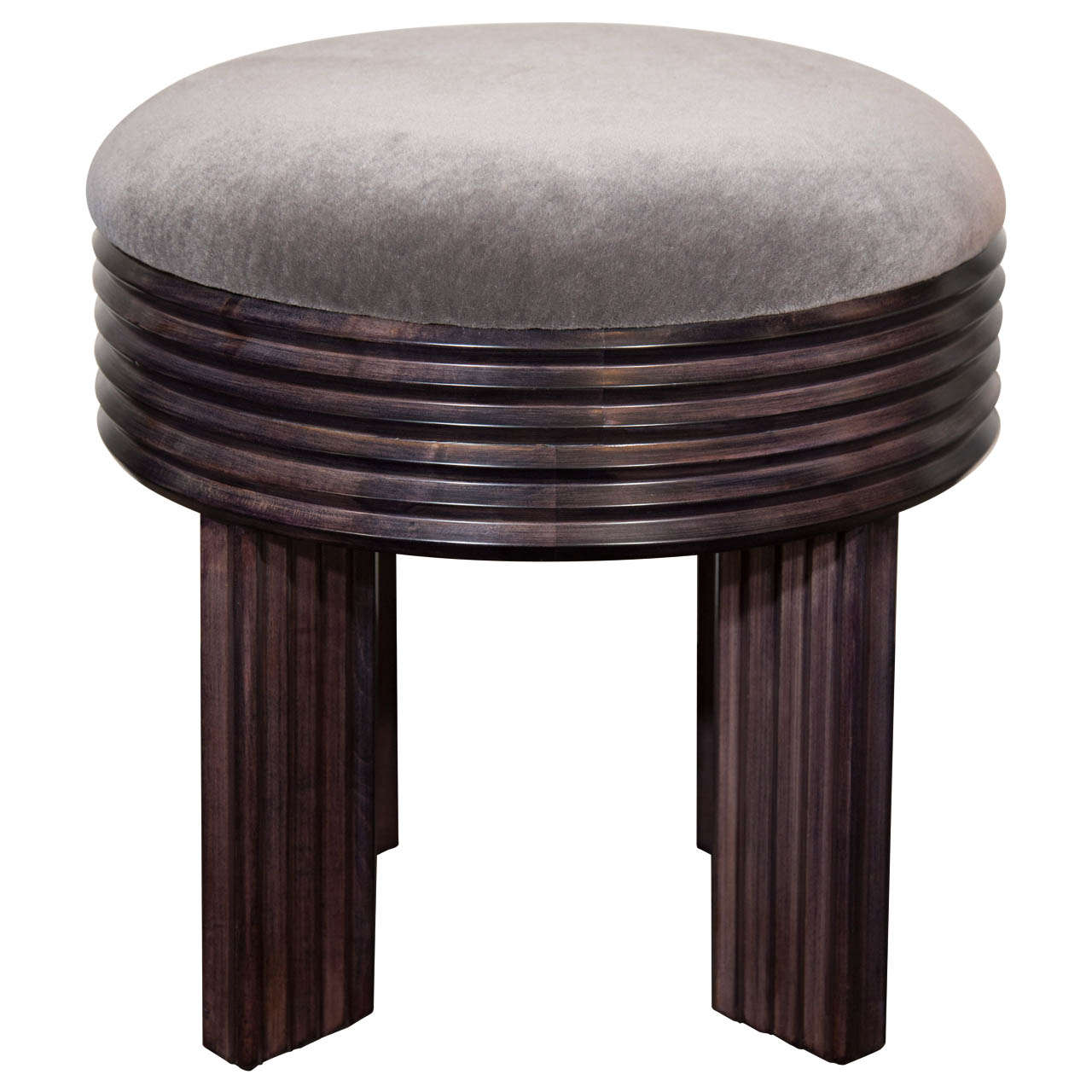 art deco luxe mohair and fluted wood vanity stool in the. Black Bedroom Furniture Sets. Home Design Ideas