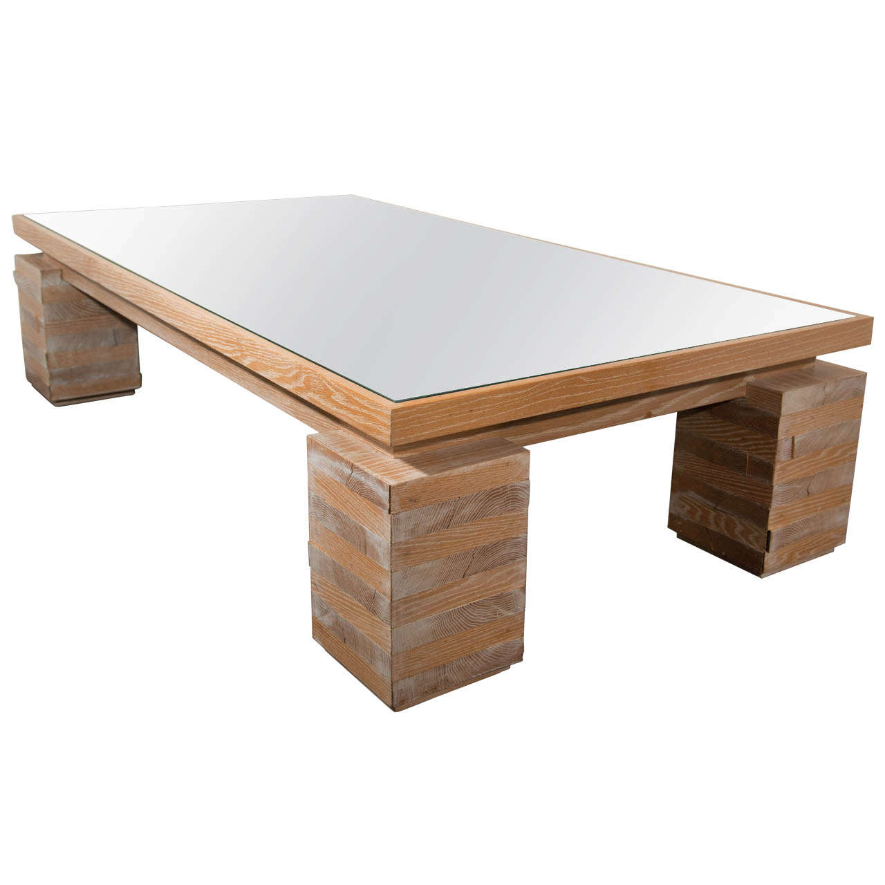 Monumental Limed Oak Coffee Table in the Manner of Paul Dupré-Lafon