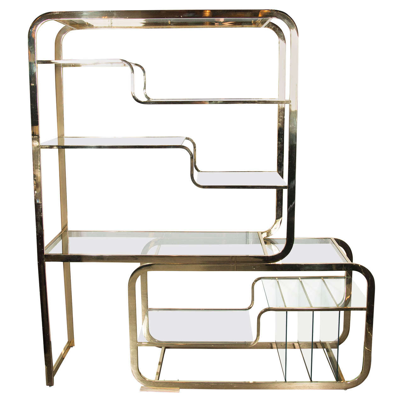 Mid Century Modern Brass And Glass Modular Cantilever Etagere By Milo  Baughman 1