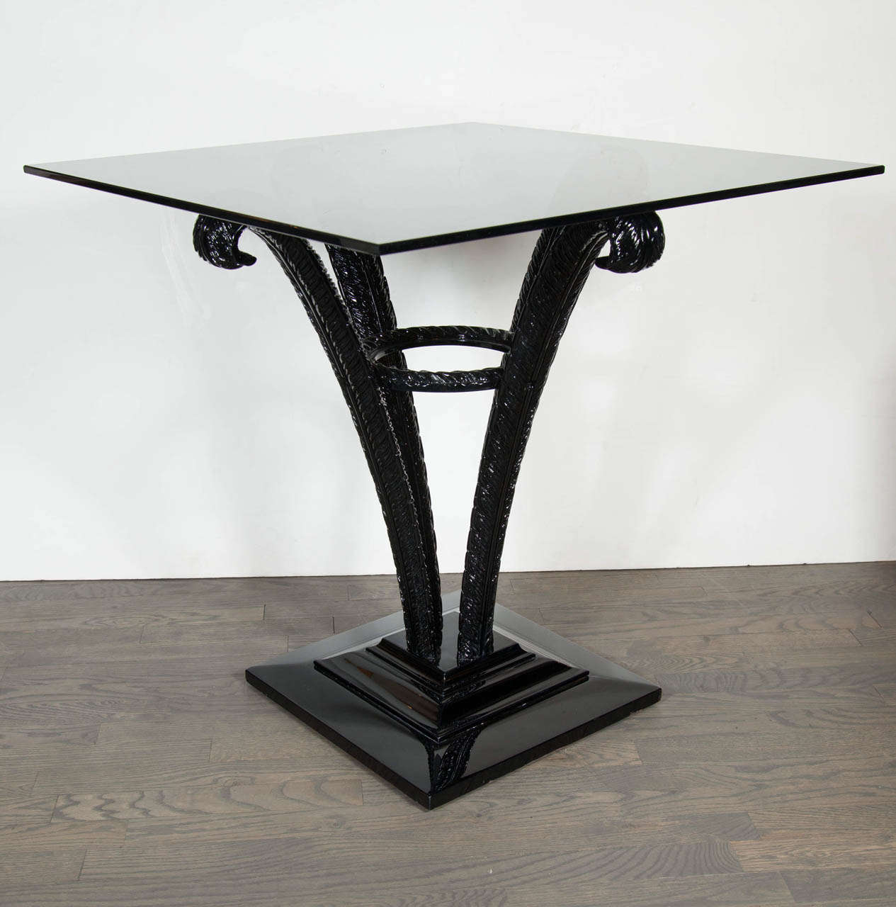 Elegant Art Deco Plume Table by Grosfeld House in Black Lacquer 2