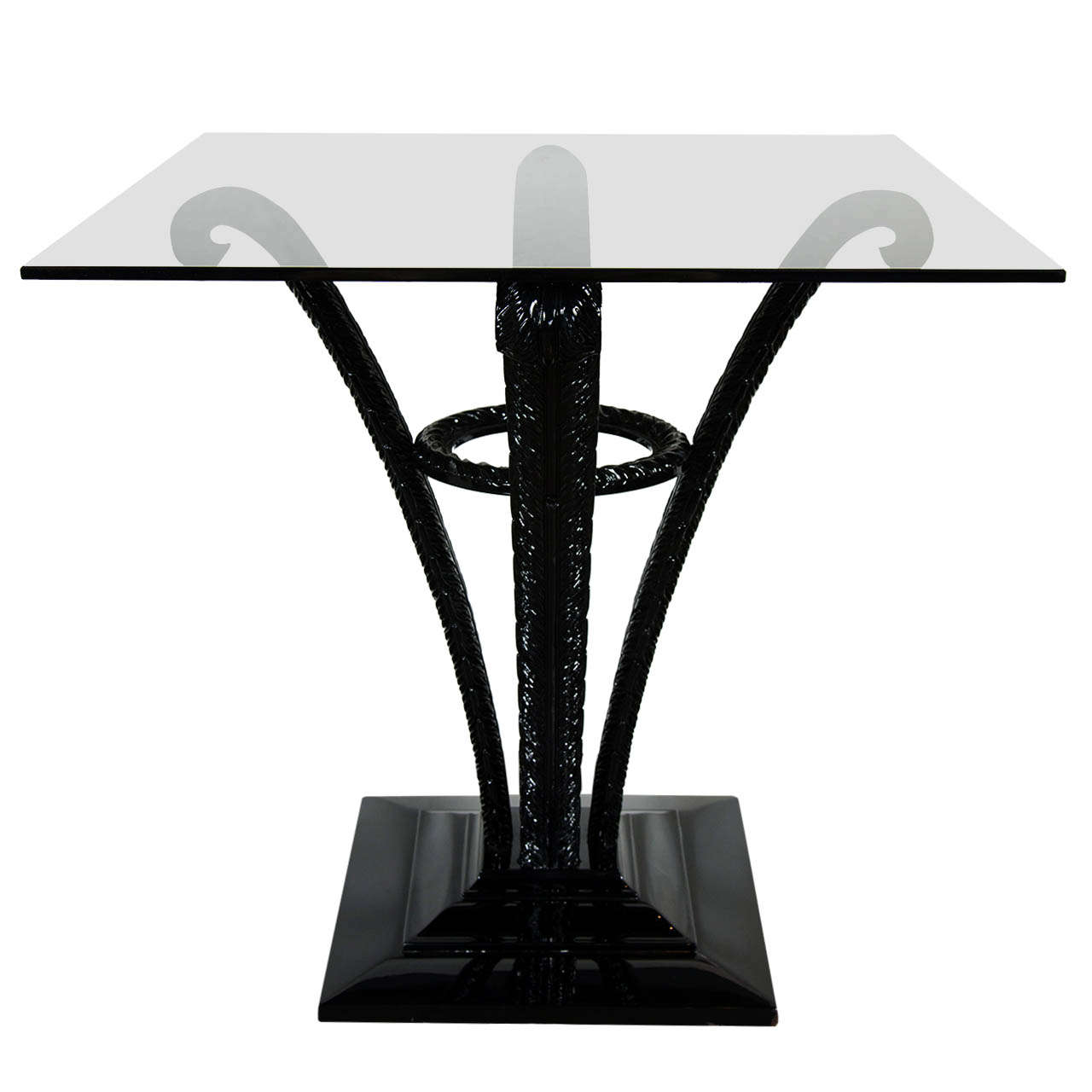 Elegant Art Deco Plume Table by Grosfeld House in Black Lacquer 1