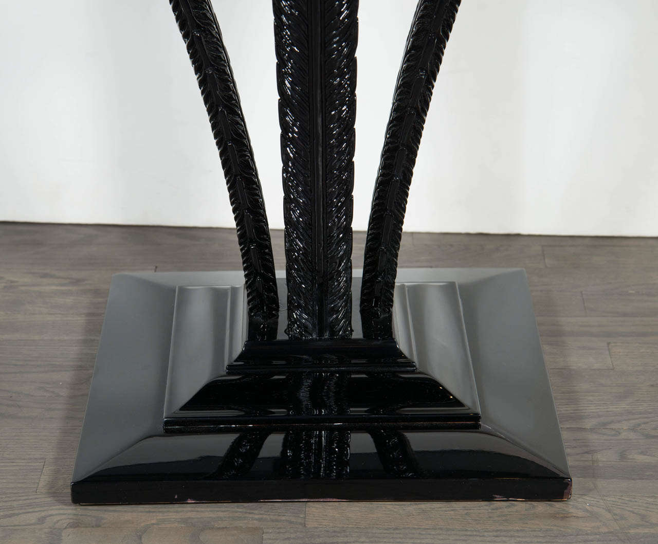 Elegant Art Deco Plume Table by Grosfeld House in Black Lacquer 3