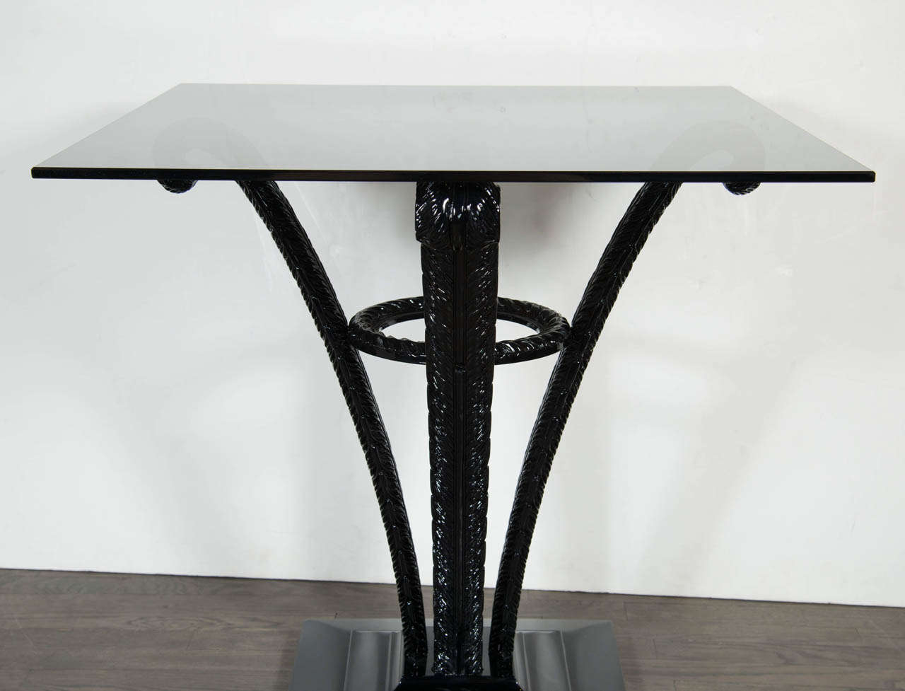 Elegant Art Deco Plume Table by Grosfeld House in Black Lacquer 4