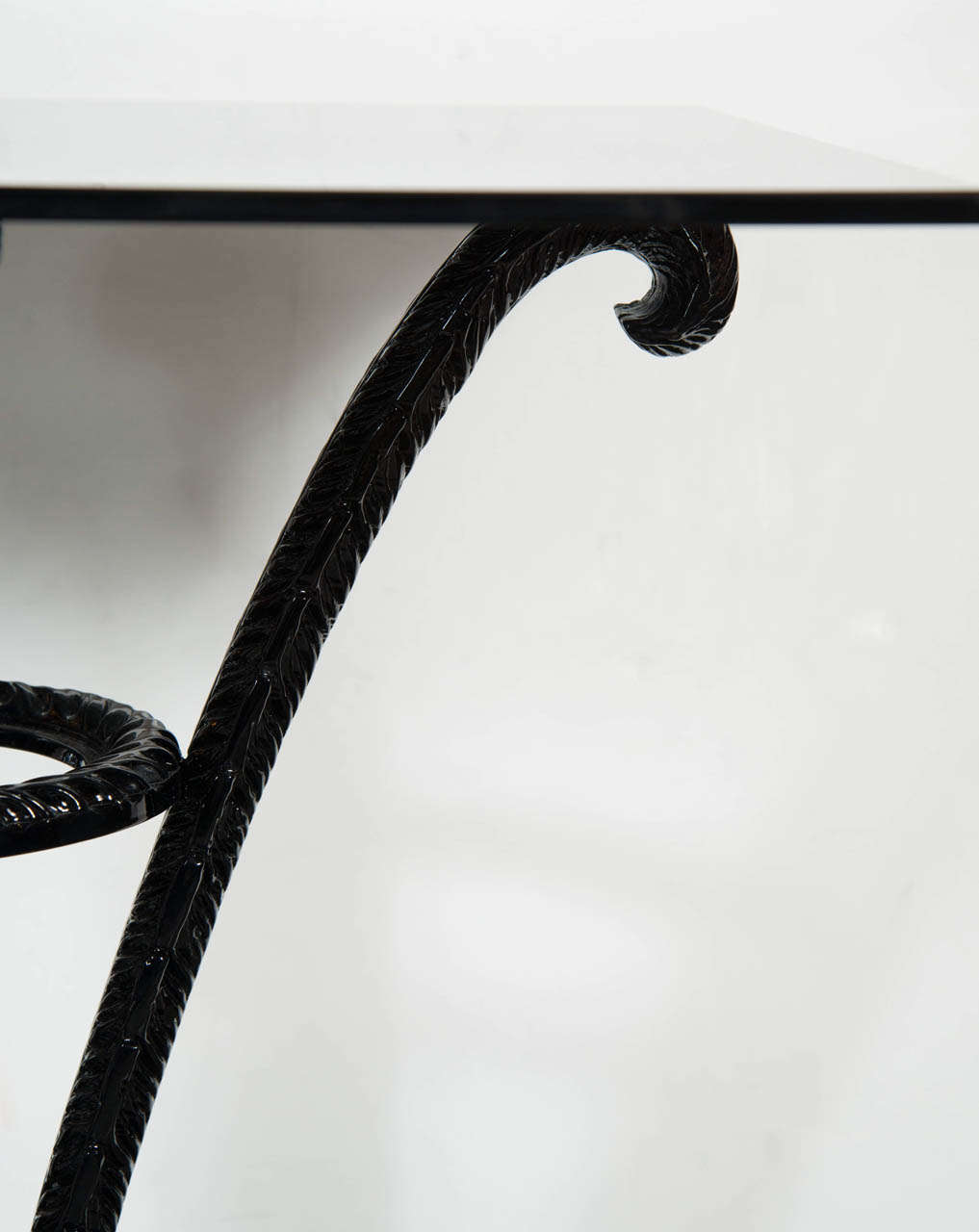 Elegant Art Deco Plume Table by Grosfeld House in Black Lacquer 5