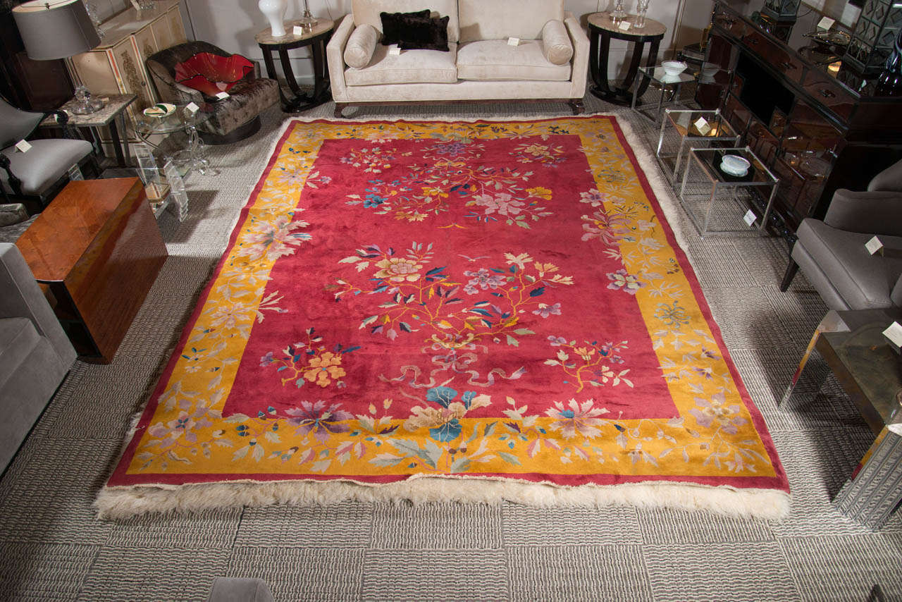 Chinese Art Deco Rug with Stylized Foliage and Floral Design 2