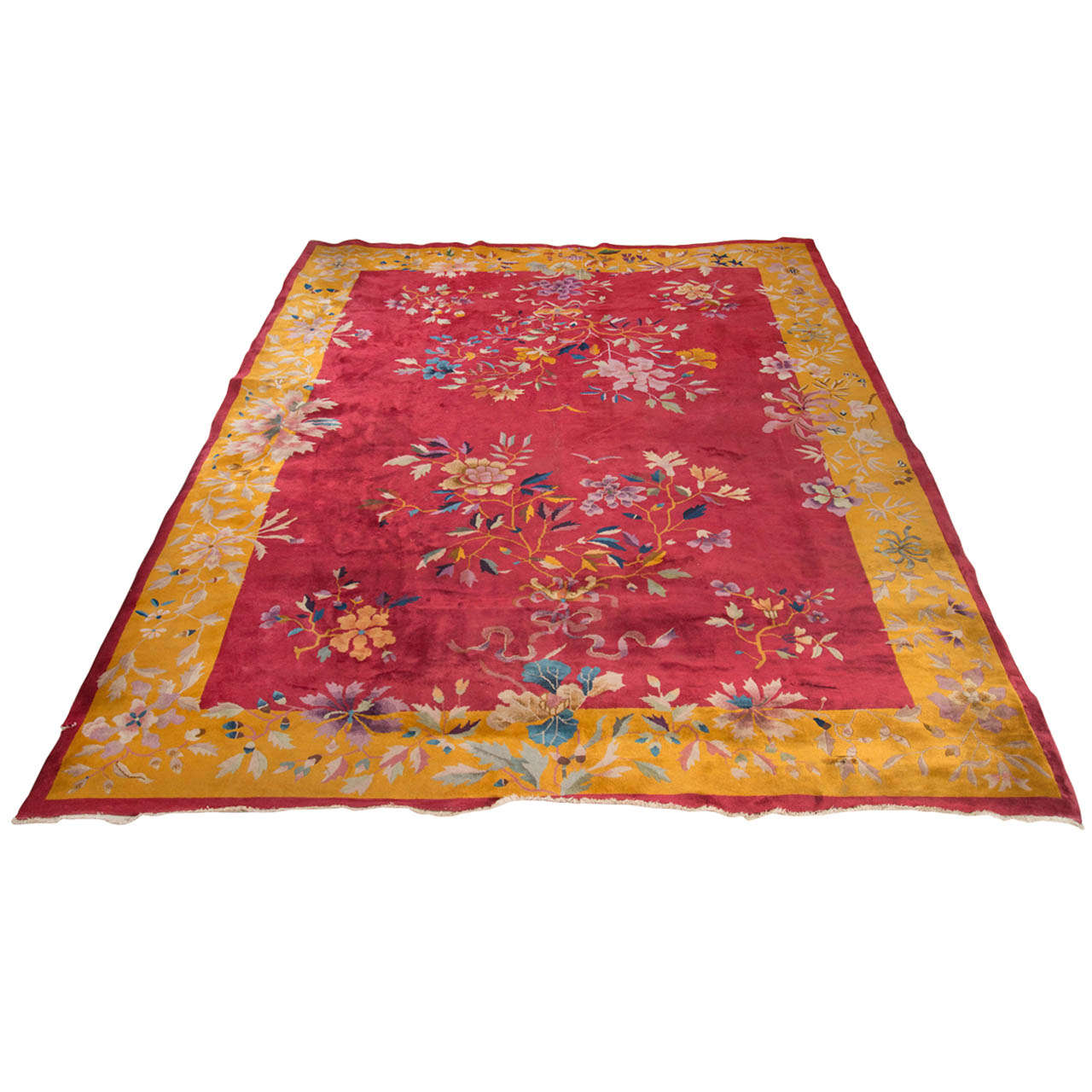 Chinese Art Deco Rug with Stylized Foliage and Floral Design 1