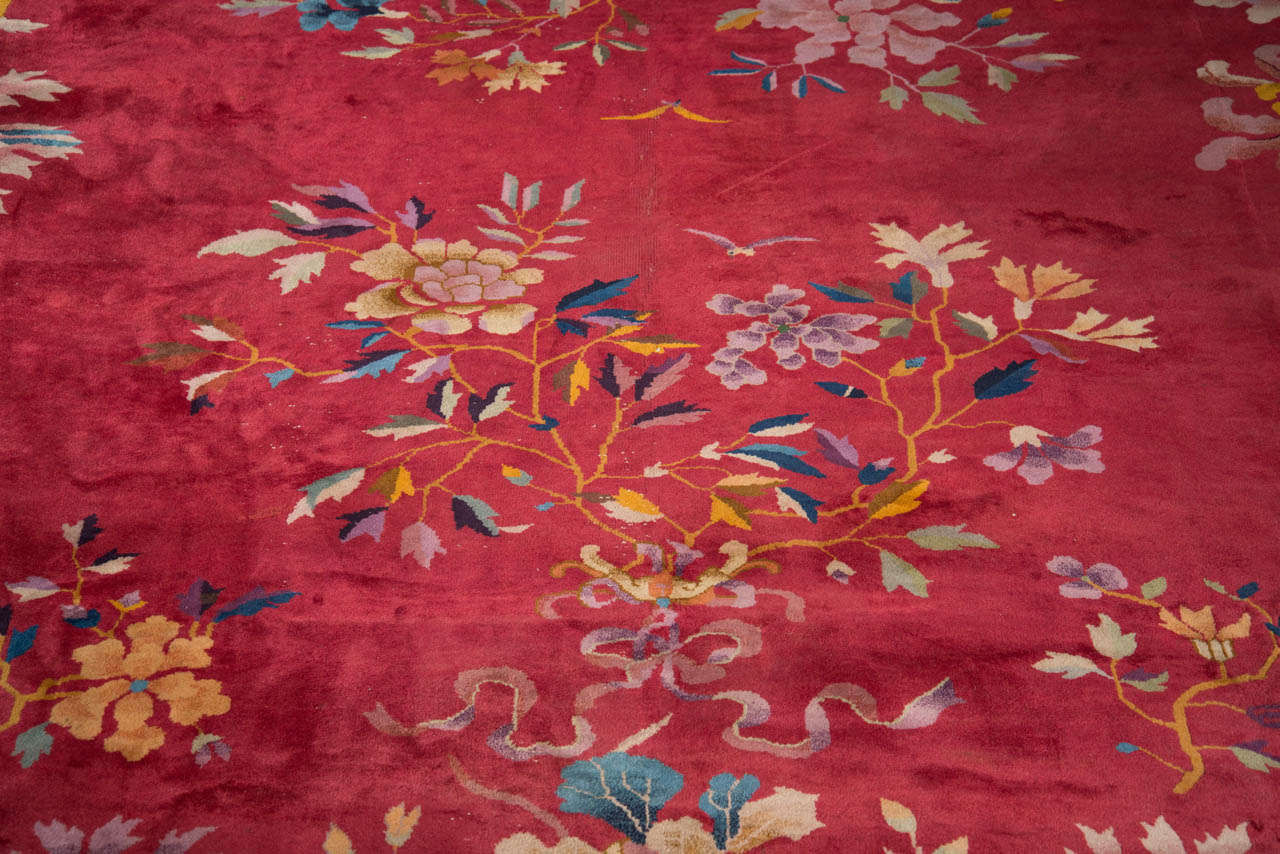 Chinese Art Deco Rug with Stylized Foliage and Floral Design 3