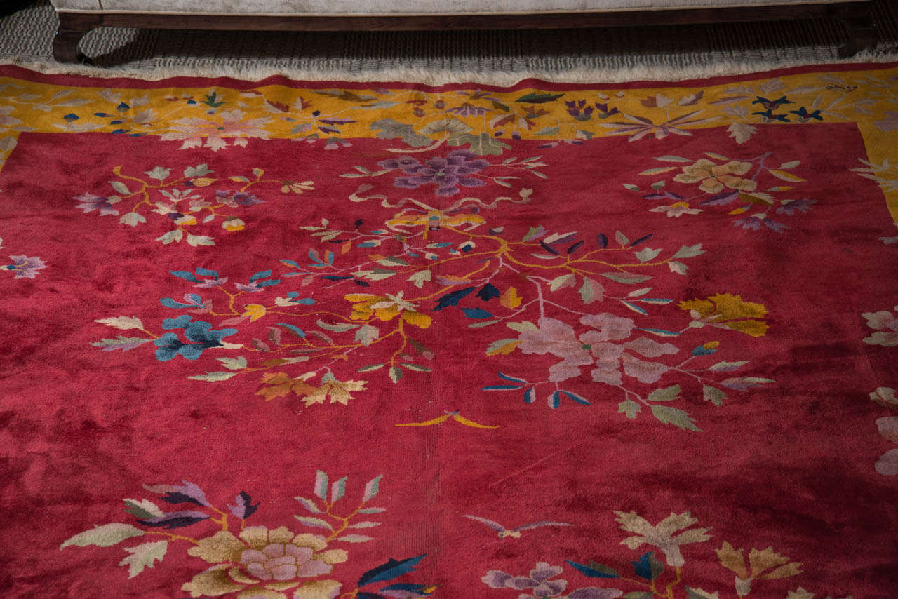 Chinese Art Deco Rug with Stylized Foliage and Floral Design 4