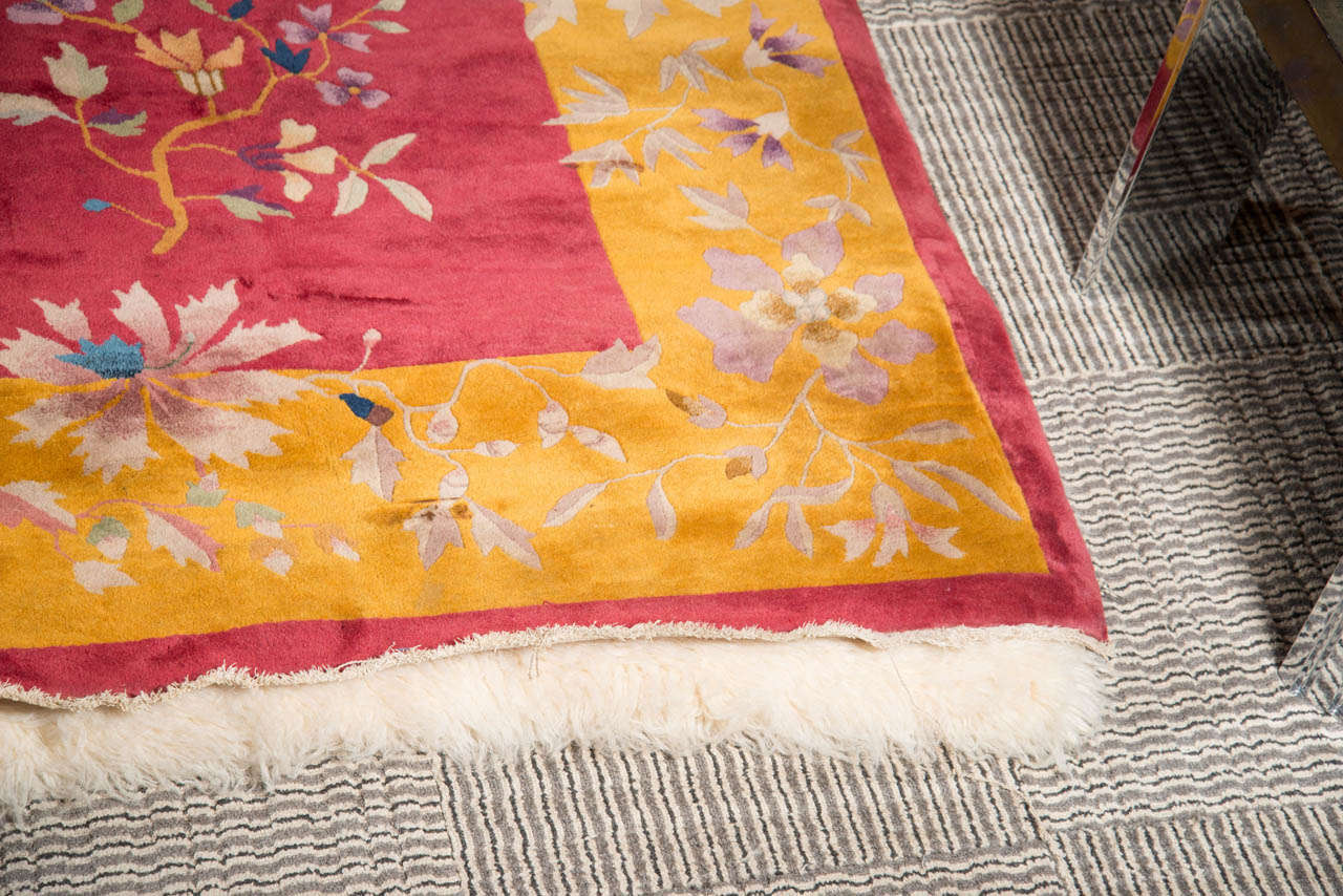 Chinese Art Deco Rug with Stylized Foliage and Floral Design 5