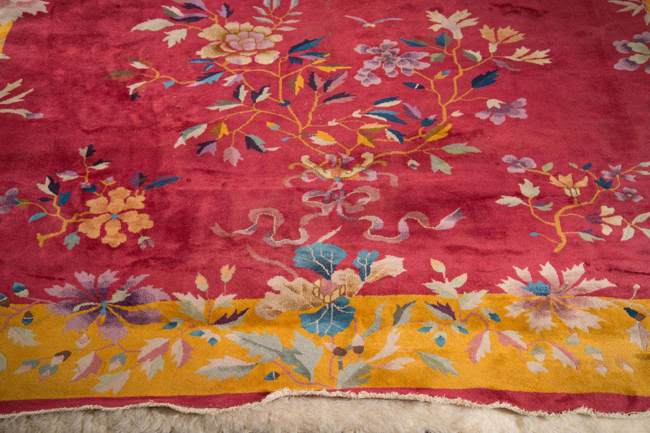 Chinese Art Deco Rug with Stylized Foliage and Floral Design 6