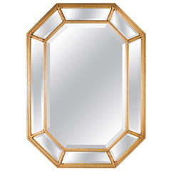 Mid-Century Modern Gilt Mirror with Inset Beveled Panels