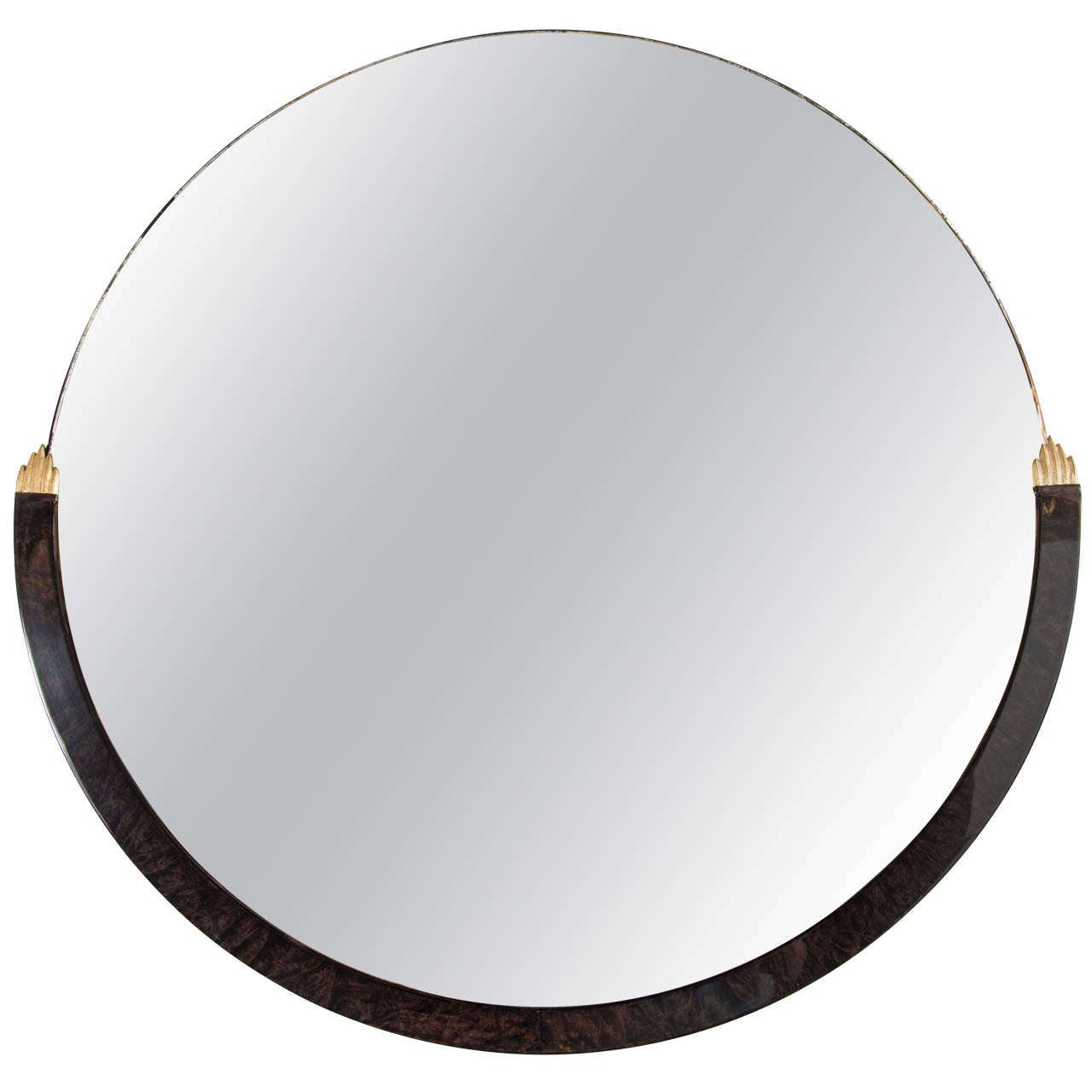 Art Deco Round Mirror in Burled Wood and Gilded Accents 1