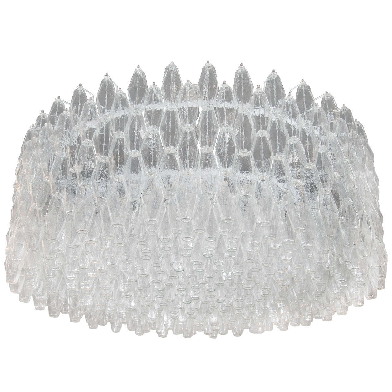 Monumental Handblown Smoked Murano Glass Polyhedral Chandelier by Venini For Sale