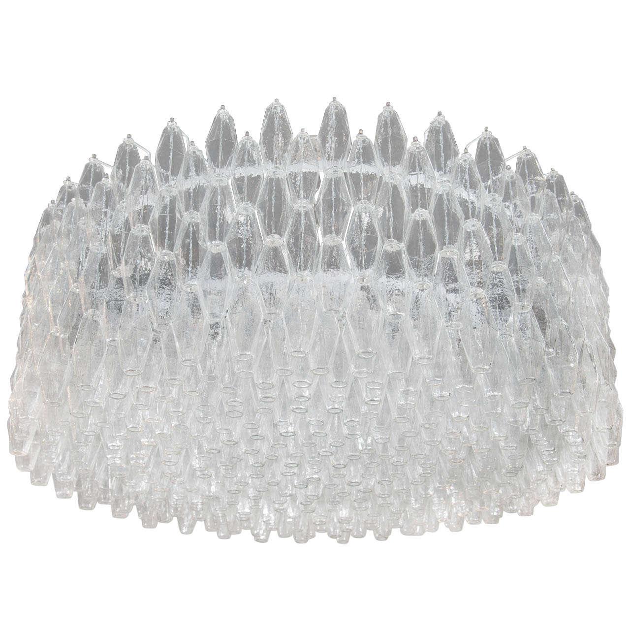 Monumental Handblown Smoked Murano Glass Polyhedral Chandelier by Venini