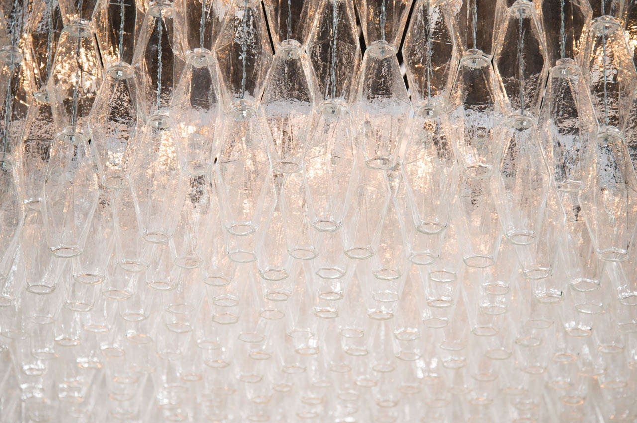 Monumental Handblown Smoked Murano Glass Polyhedral Chandelier by Venini 4
