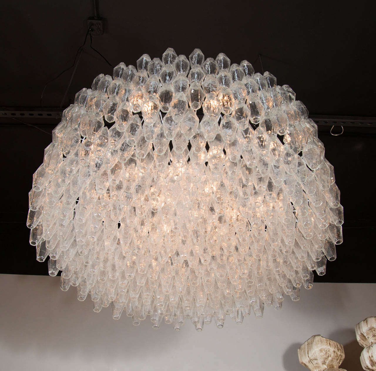 Monumental Handblown Smoked Murano Glass Polyhedral Chandelier by Venini In Excellent Condition For Sale In New York, NY