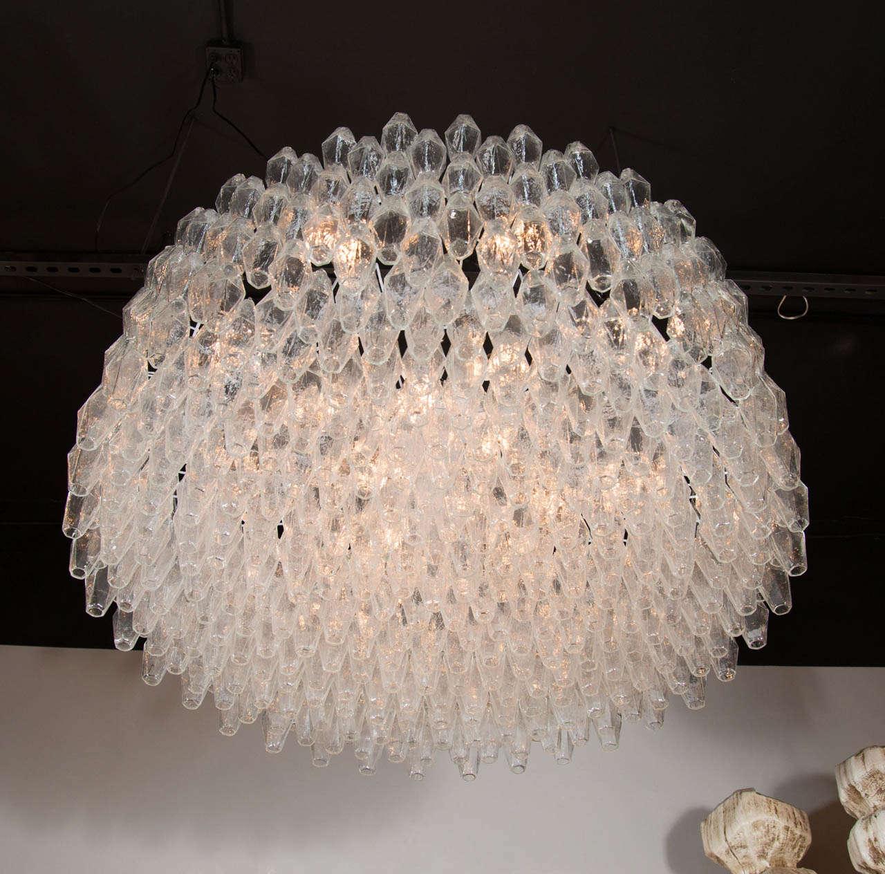 Monumental Handblown Smoked Murano Glass Polyhedral Chandelier by Venini 5