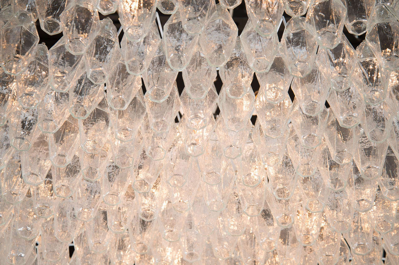 20th Century Monumental Handblown Smoked Murano Glass Polyhedral Chandelier by Venini For Sale