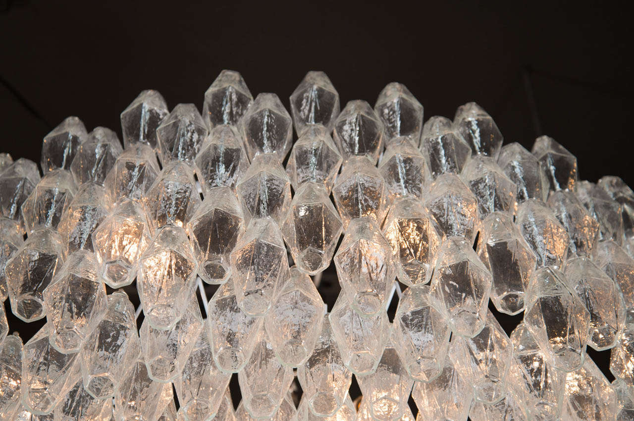 Monumental Handblown Smoked Murano Glass Polyhedral Chandelier by Venini For Sale 1