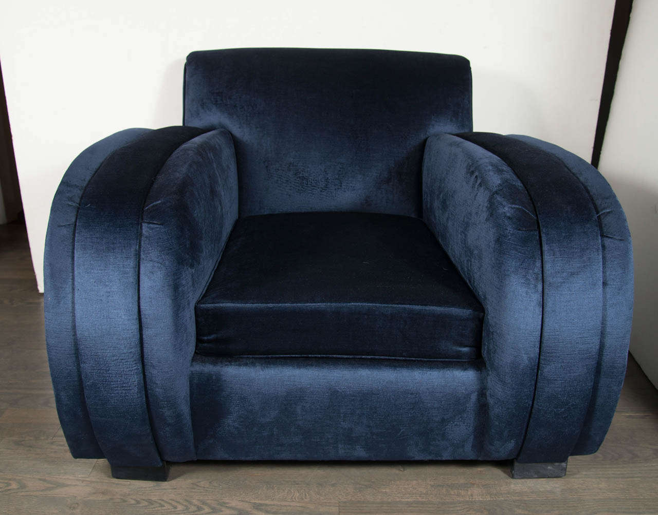 Art Deco Streamlined Club Chair in Sapphire Blue Velvet Upholstery 2