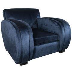 Art Deco Streamlined Club Chair in Sapphire Blue Velvet Upholstery